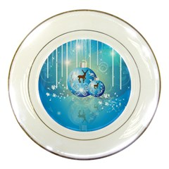 Wonderful Christmas Ball With Reindeer And Snowflakes Porcelain Plates by FantasyWorld7