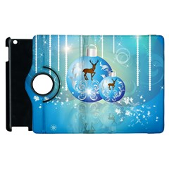 Wonderful Christmas Ball With Reindeer And Snowflakes Apple iPad 2 Flip 360 Case by FantasyWorld7