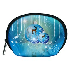 Wonderful Christmas Ball With Reindeer And Snowflakes Accessory Pouches (medium)  by FantasyWorld7