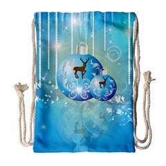 Wonderful Christmas Ball With Reindeer And Snowflakes Drawstring Bag (large) by FantasyWorld7