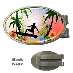 Tropical Design With Surfboarder Money Clips (oval)  by FantasyWorld7