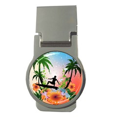 Tropical Design With Surfboarder Money Clips (round)  by FantasyWorld7