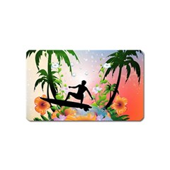 Tropical Design With Surfboarder Magnet (name Card) by FantasyWorld7