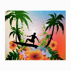 Tropical Design With Surfboarder Small Glasses Cloth (2 Side) by FantasyWorld7