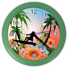 Tropical Design With Surfboarder Color Wall Clocks by FantasyWorld7