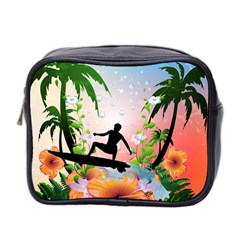 Tropical Design With Surfboarder Mini Toiletries Bag 2 Side by FantasyWorld7