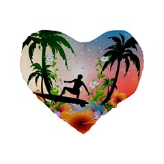 Tropical Design With Surfboarder Standard 16  Premium Flano Heart Shape Cushions by FantasyWorld7