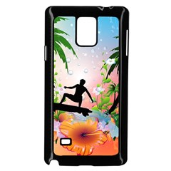 Tropical Design With Surfboarder Samsung Galaxy Note 4 Case (black) by FantasyWorld7
