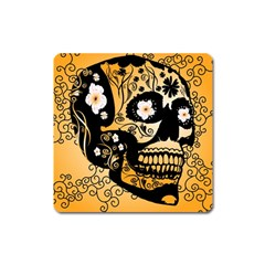 Sugar Skull In Black And Yellow Square Magnet by FantasyWorld7