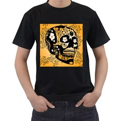 Sugar Skull In Black And Yellow Men s T Shirt (black) (two Sided)
