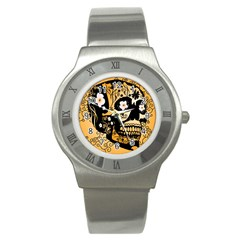 Sugar Skull In Black And Yellow Stainless Steel Watches by FantasyWorld7
