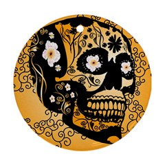 Sugar Skull In Black And Yellow Round Ornament (two Sides)  by FantasyWorld7