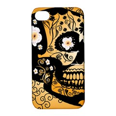 Sugar Skull In Black And Yellow Apple Iphone 4/4s Hardshell Case With Stand by FantasyWorld7