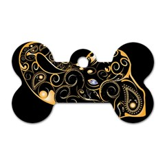 Beautiful Elephant Made Of Golden Floral Elements Dog Tag Bone (two Sides) by FantasyWorld7