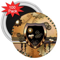 Steampunk, Shield With Hearts 3  Magnets (100 pack) by FantasyWorld7