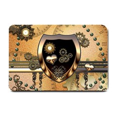 Steampunk, Shield With Hearts Small Doormat  by FantasyWorld7