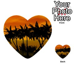 Sunset Over The Beach Multi Purpose Cards (heart)  by FantasyWorld7