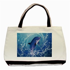 Cute Dolphin Jumping By A Circle Amde Of Water Basic Tote Bag  by FantasyWorld7