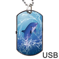 Cute Dolphin Jumping By A Circle Amde Of Water Dog Tag Usb Flash (one Side) by FantasyWorld7