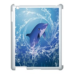 Cute Dolphin Jumping By A Circle Amde Of Water Apple Ipad 3/4 Case (white) by FantasyWorld7