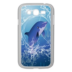 Cute Dolphin Jumping By A Circle Amde Of Water Samsung Galaxy Grand DUOS I9082 Case (White) by FantasyWorld7