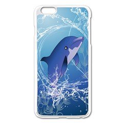 Cute Dolphin Jumping By A Circle Amde Of Water Apple Iphone 6 Plus/6s Plus Enamel White Case by FantasyWorld7