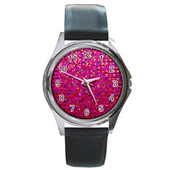 Polka Dot Sparkley Jewels 1 Round Metal Watches by MedusArt
