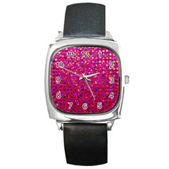 Polka Dot Sparkley Jewels 1 Square Metal Watches by MedusArt