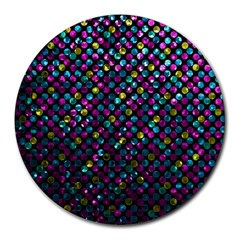 Polka Dot Sparkley Jewels 2 Round Mousepads by MedusArt
