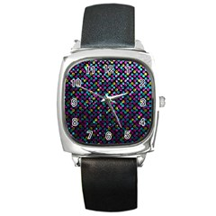 Polka Dot Sparkley Jewels 2 Square Metal Watches by MedusArt