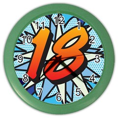 Comic Book 18 Blue Color Wall Clocks by ComicBookPOP