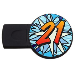 Comic Book 21 Blue Usb Flash Drive Round (2 Gb)  by ComicBookPOP