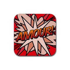 Comic Book Amour!  Rubber Coaster (square)  by ComicBookPOP
