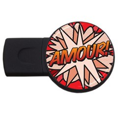 Comic Book Amour!  Usb Flash Drive Round (4 Gb)  by ComicBookPOP