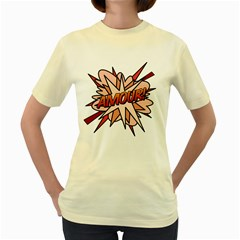 Comic Book Amour! Women s Yellow T Shirt by ComicBookPOP