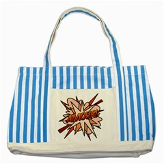 Comic Book Amour! Striped Blue Tote Bag  by ComicBookPOP