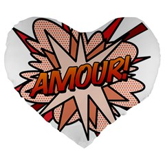 Comic Book Amour! Large 19  Premium Heart Shape Cushions by ComicBookPOP