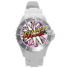 Comic Book Fille! Round Plastic Sport Watch (L) by ComicBookPOP