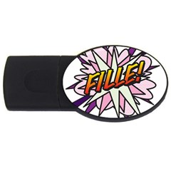 Comic Book Fille! Usb Flash Drive Oval (2 Gb)  by ComicBookPOP