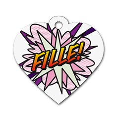 Comic Book Fille! Dog Tag Heart (one Side) by ComicBookPOP