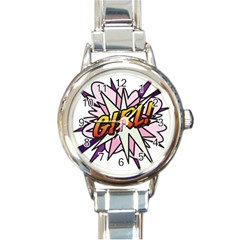 Comic Book Girl!  Round Italian Charm Watches by ComicBookPOP