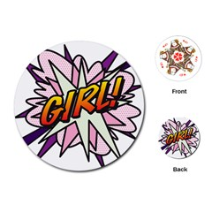Comic Book Girl!  Playing Cards (round)  by ComicBookPOP
