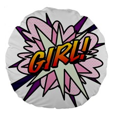 Comic Book Girl!  Large 18  Premium Flano Round Cushions by ComicBookPOP