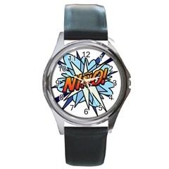 Comic Book Nino! Round Metal Watches by ComicBookPOP