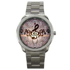 Music, Wonderful Clef With Floral Elements Sport Metal Watches by FantasyWorld7