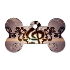Music, Wonderful Clef With Floral Elements Dog Tag Bone (two Sides) by FantasyWorld7