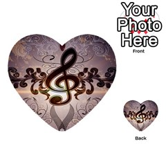 Music, Wonderful Clef With Floral Elements Multi Purpose Cards (heart)  by FantasyWorld7