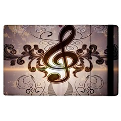 Music, Wonderful Clef With Floral Elements Apple Ipad 2 Flip Case by FantasyWorld7