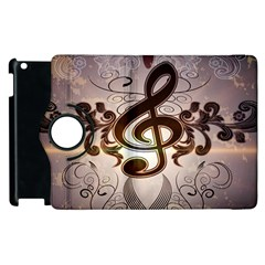 Music, Wonderful Clef With Floral Elements Apple Ipad 3/4 Flip 360 Case by FantasyWorld7