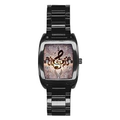 Music, Wonderful Clef With Floral Elements Stainless Steel Barrel Watch by FantasyWorld7